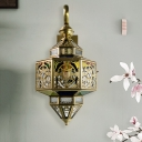 1-Light Wall Lighting Fixture Traditional Restaurant Wall Sconce Lamp with Multifaceted Metal in Brass