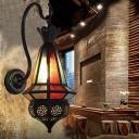 1 Bulb Metal Wall Lamp Sconce Art Deco Black Lantern Restaurant Wall Mounted Lighting