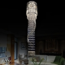 Gold Cascade Cluster Pendant Light Minimalist 9 Lights Clear K9 Crystal LED Suspension Lamp