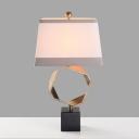 White Pagoda Table Lamp Modern 1 Bulb Fabric Task Light with Rectangle Black Marble Base