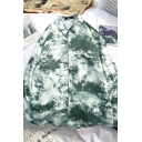 Hawaii Style Long Sleeve Lapel Collar Button Front Tie Dye Relaxed Fit Shirt for Male