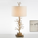 1 Head Bedroom Table Light Modern Gold Small Desk Lamp with Cylinder Fabric Shade