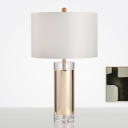 Cylindrical Reading Light Modernist Fabric 1 Bulb Night Table Lamp in Gold for Bedroom