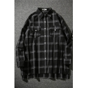 Casual Guys' Long Sleeve Lapel Collar Button Down Flap Pockets Checkered Loose Fit Shirt