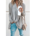 Elegant Trendy Ladies' Long Sleeve Cowl Neck Solid Color Slim Fit Asymmetric T-Shirt