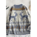 Ethnic Boys' Long Sleeve Crew Neck Reindeer Floral Pattern Knitted Loose Fit Sweater Top