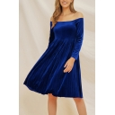 Formal Stylish Women's Solid Color Long Sleeve Off the Shoulder Velvet Mid Pleated A-Line Evening Dress