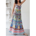 Ethnic Ladies' Blue Sleeveless All Over Floral Printed Pleated Maxi A-Line Cami Beach Dress