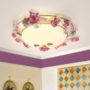 Metal Dome Ceiling Fixture Pastoral 2/3/4 Lights Dining Room Flush Mount Light in White with Flower Decor
