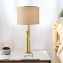 1 Head Cylindrical Nightstand Lamp Contemporary Fabric Reading Book Light in Flaxen