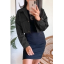 Cool Girls' Plain Long Sleeve Lapel Neck Button Down Cropped Fitted Jacket