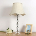 Fabric Bell Desk Light Contemporary 1 Bulb Beige Nightstand Lamp with Braided Trim