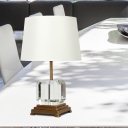 Contemporary Tapered Drum Task Lighting Fabric 1 Bulb Reading Book Light in White