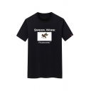 Chic Men's Short Sleeve Crew Neck Letter SWEER WORK FEARLESS Bee Graphic Fitted Tee