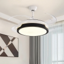 Drum Acrylic Semi Flushmount Contemporary Living Room 4 Blades LED Ceiling Fan Light in Black/Wood, 48