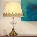 Fabric Flare Desk Light Modern 1 Bulb Beige Nightstand Lamp with Faux-Braided Detailing