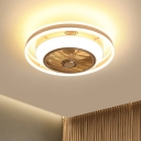LED Round Hanging Fan Light Modern Gold Acrylic Shade Semi Flush Mount Lamp for Bedroom, 19.5