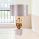 Grey Drum Desk Light Contemporary 1 Bulb Fabric Nightstand Lamp with Marble Base