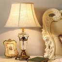 Beige Wide Flare Study Lamp Contemporary 1 Bulb Fabric Reading Book Light for Study