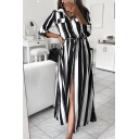 Chic Trendy Ladies' Three-Quarter Sleeve Lapel Neck Button Down Striped Print Maxi A-Line Dress