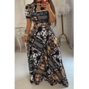 Designer Women's Short Sleeve Crew Neck Cut Out Front Bow Tie Waist Floral Geo Printed Maxi Pleated A-Line Dress