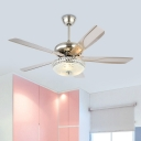Dome Living Room 5-Blade Fan Lighting Fixture Modern Metal 48