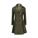 Elegant Fashion Women's Long Sleeve Lapel Neck Double Breasted Ruched Solid Color Longline Wool Coat