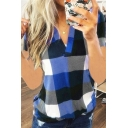 Classic Leisure Short Sleeve V-Neck Plaid Print Relaxed Fit T Shirt for Ladies