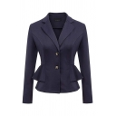 Classic Women's Solid Color Long Sleeve Notch Collar Button Down Ruffled Fitted Blazer