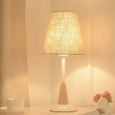 Wide Flare Task Lighting Contemporary Fabric 1 Bulb Reading Book Light in Flaxen