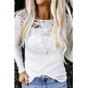 Elegant Ladies' Long Sleeve Round Neck Sheer Lace Patched Solid Color Knit Fitted Tee