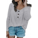 Elegant Fashion Ladies' Long Sleeve Round Neck Button Front Relaxed Fit Solid Color T Shirt