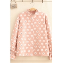 Fancy Girls' Long Sleeve Stand Collar Button Down All Over Bear Printed Stringy Selvedge Ruched Loose Shirt