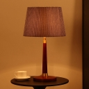 Modernist 1 Bulb Nightstand Lamp Grey Wide Flare Task Lighting with Fabric Shade