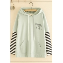 Leisure Women's Long Sleeve Drawstring Cat Printed Striped Panel False Two Piece Loose Hoodie with Pocket