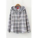 Stylish Women's Long Sleeve Button Down Checkered Drawstring Loose Hooded Shirt
