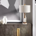 Cylindrical Desk Light Modern Fabric 1 Bulb White Nightstand Lamp with Marble Base