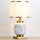 1 Head Shaded Desk Light Modernism Fabric Night Table Lamp in White for Living Room
