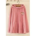 Kpop Women's Letter HEAVEHL YPEACH Peach Embroidery Long Sleeve Drawstring Oversize Longline Hoodie