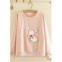 Casual Women's Long Sleeve Crew Neck Rabbit Embroidery Bow Tie Loose Fit Pullover Sweatshirt
