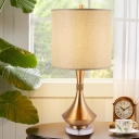 Contemporary 1 Bulb Nightstand Lamp Flaxen Barrel Reading Book Light with Fabric Shade