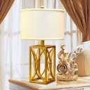 Rectangular Desk Lamp Modern Metal 1 Bulb Gold Table Light with White Drum Fabric Shade