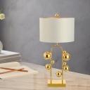 Modernist Cylinder Task Lighting Fabric 1 Head Small Desk Lamp in White for Bedside