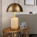 Contemporary 1 Head Task Lighting Brass Domed Night Table Lamp with Metal Shade