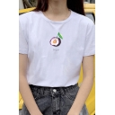 Classic Simple Girls Short Sleeve Crew Neck Prune Margosteen Lemon Graphic Fitted T Shirt in White