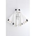 Preppy Girls' Lovely Bell Sleeves Drawstring Cat Patterned Oversize Cat Ears Hoodie Cape