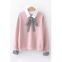 Fancy Girls Long Sleeve Lapel Neck Bow Tie Front Graphic Scallop Hem Fake Two-Piece Relaxed Pullover Sweatshirt