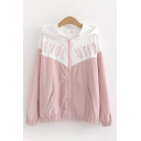 Casual Girls Long Sleeve Zip Up Letter EVOL UTIO Printed Colorblock Loose Jacket