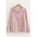 Fancy Girls Long Sleeve Zipper Front Letter THE-HOOD-OPENING Smile Face Graphic Relaxed Fit Jacket