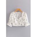 Stylish Womens Short Sleeve V-Neck Button Down All-Over Floral Neck Fit Crop Blouse in White